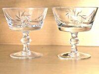 Crystal Sherbet Dessert Dish Glass Star Cross Pinwheel Pattern Set of 2 *Perfect