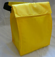 Reusable Insulated LUNCH BAG - BRIGHT YELLOW - Tab Closure - Front Pocket