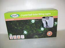 Smart Solar White Crystal Ball Light String 30 ct LED And NiMh Battery