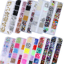 12 Grids/Sets Nail Glitter Sequins Mixed Round Flake 3D Nail Art Decoration