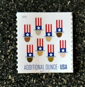 2019USA #5341 15c Additional Ounce Rate - Uncle Sam's Hat - PNC Single  Mint
