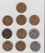 10 United States Pennies - 1940-1957