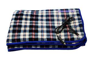 BLUE TARTAN 12v Electric Heated FLEECE Travel Blanket 150cm x 115cm VC13NC0020