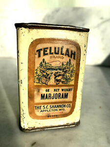 Rare Antique Telulah Brand Spice Tin  Appleton Wisconsin