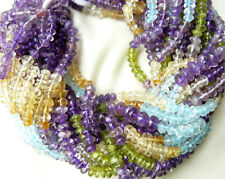 "Multi-color Gem-beads 5-7mm Button cut 14"" strand Amythyst Citrine,Peridot,Topaz"