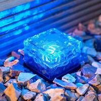 Waterproof Solar Powered LED Rock Light Path Garden Ice Cube Brick Lamp Decor