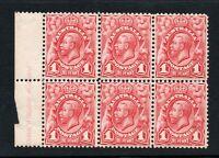 Australia block of 6 with marginal inscription Sg 17c -- 1d rose red No wmk
