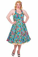 Banned Dancing days Blue Floral Halter Strap Rockabilly Swinf Day tea Dress 2XL-