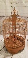 Bamboo Teak Wood Hand Carved Bird Cage House Unique Vintage Antique