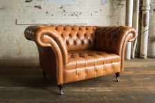 MODERN HANDMADE 1.5 SEAT RUSTIC TAN LEATHER CHESTERFIELD SNUGGLE CHAIR LOVE SEAT