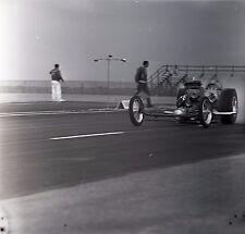 Front Engine Dragster Starting Line View - Vintage Drag Racing Negative