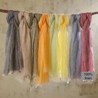 100% Linen Scarf Shawl Solid Color Lightweight  Summer Scarves For Men & Women