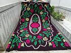 Moroccan Handmade Azilal Wool Rug Vintage Beni Ourain Carpet Floral Tribal Rug