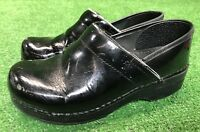 DANSKO PROFESSIONAL Black Patent Leather Stapled Clog Mule Size 38 EU 8 US