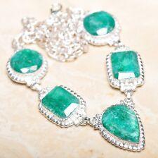 "Handmade Green Emerald Gemstone 925 Sterling Silver Necklace 19.5"" #N00860"