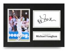 Michael Vaughan Signed A4 Photo Display Cricket Ashes Autograph Memorabilia +Coa