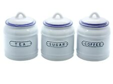 Retro Tea, Coffee and Sugar Canister Set in Vintage Blue and White Ceramic