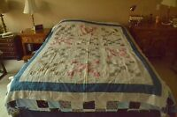 "Vintage 9-Patch Variation Quilt-Top, Older Fabric, 66"" x 81"", M63"