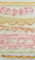 Vintage Pink Crochet Lace 40's 9 Trim Edging Sewing Costume Doll Lot A36
