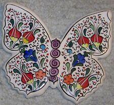"Iznik Tulip & Carnation Pattern Handpainted 6""x5"" Ceramic Butterfly Wall Hanging"