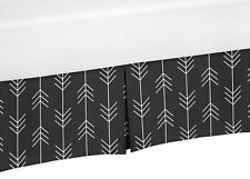Black and White Woodland Arrow Rustic Patch Toddler Kids Bed Skirt Dust Ruffle
