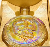 Vtg Wheaton Iridescent Amber Glass ABRAHAM LINCOLN Presidential Decanter w/ Box