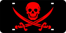 RED ON BLACK CALICO JACK PIRATE FLAG MIRRORED ACRYLIC LASER CUT LICENSE PLATE