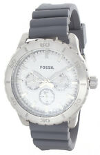 Fossil White Dial Gray Rubber Strap Multifunction Men's Watch BQ16231003 43mm