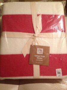 Pottery Barn Teen Cottage Stripe Blanket Twin Magenta Pink