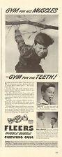 1942 WW2 era AD FLEERS DUBBLE BUBBLE Chewing Gum  gym for his teeth ! 100216