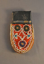 RARE EARLY EASTERN WOODLANDS INDIAN BEADWORK -  TWO SIDED BEADED CLOTH POUCH