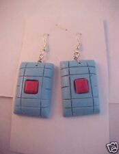 Turquoise / Coral Slab Earrings with Wires