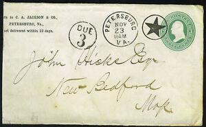 "US 1870 SUPERB STAR FANCY CANCEL PETERSBURG,VA TO NEW BEDFORD W/POSTAGE ""DUE 3"""