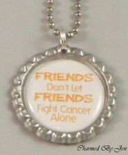 "New LEUKEMIA Awareness Orange ""FRIENDS"" Bottle Cap Ball Chain Necklace 24"""
