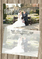 PERSONALISED VINTAGE POSTCARD PHOTO WEDDING THANK YOU CARDS PACKS OF 10