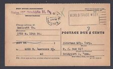 1956 OFFICIAL P.O. CHANGE OF ADDRESS FORM FROM PHILA PA POSTAGE DUE 3c