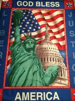 PNL60 God Bless America Statue Of Liberty Cotton Fabric Quilt Fabric Panel