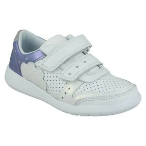 GIRLS CLARKS SCAPE SHELL JUNIOR HOOK & LOOP CASUAL TRAINERS LEATHER SHOES SIZE