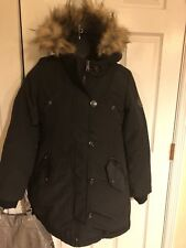 Bebe black parka  Zipped Coat Jacket Puffer Removable fur sz S/P