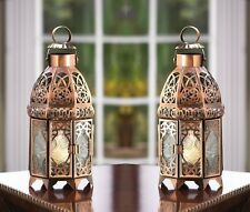 """Copper Moroccan Candle Lantern 9 1/2"""" tall (Set of Two) Wedding Supplies 13366"""