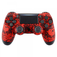 Red Skulls Soft Touch Upper Housing Shell for PS4 Pro Slim JDM-040 Controller