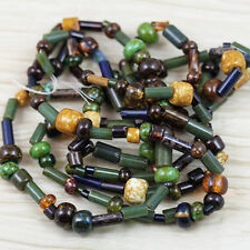 LIMITED!!!  AGED STRIPE FOREST GREEN PICASSO MIX CZECH SEED BEADS - 45grams!!!