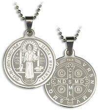 Laser Engraved Stainless Steel Saint Benedict Medal on Pop Chain Necklace