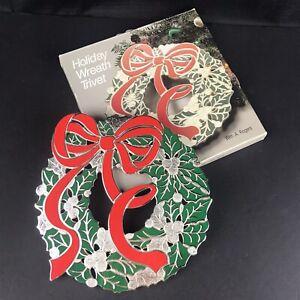 Vintage Christmas Wreath Trivet - Japan Oneida Silverplated - Red Green Enamel