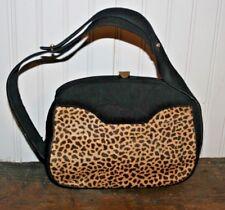 Vintage Salvatore FERRAGAMO Leopard Print Calf Hair Black Velvet HandBag  Purse 18e47081da47d