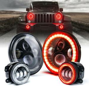 "7Inch Round LED Headlights & 4"" Fog Lights Combo w/ Red Halo Rings for Jeep JK"