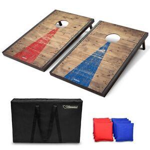 GoSports Classic Outdoor Cornhole Game Set with Rustic Wood Finish