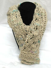 Lacy Linen Scarf Handknit from Italian Yarn Natural Linen Hand Knit Soft