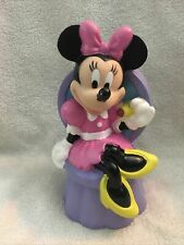 """Disney Minnie Mouse Chair Plastic Coin Piggy Bank Just Toys Inc Pink Purple 8"""""""