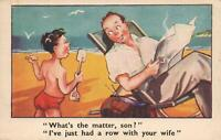 COMIC BOY CALLS his MOTHER his FATHER'S WIFE POSTCARD - UNUSED